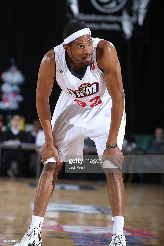 <a gi-track='captionPersonalityLinkClicked' href=/galleries/search?phrase=Shan+Foster&family=editorial&specificpeople=712239 ng-click='$event.stopPropagation()'>Shan Foster</a> #32 of the Bakersfield Jam reacts while playing against the Sioux Falls Skyforce during the 2013 NBA D-League Showcase on January 7, 2013 at the Reno Events Center in Reno, Nevada.