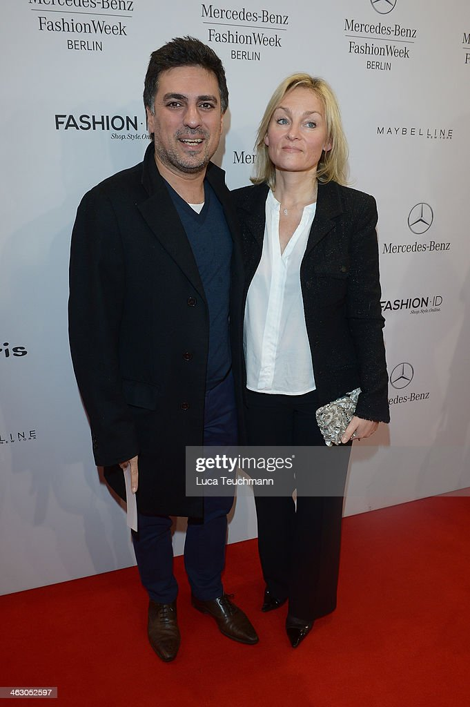 Shan Rahimkhan and Claudia Rahimkhan arrive for the Guido Maria Kretschmer Show during Mercedes-Benz Fashion Week Autumn/Winter 2014/15 at Brandenburg Gate on January 16, 2014 in Berlin, Germany.