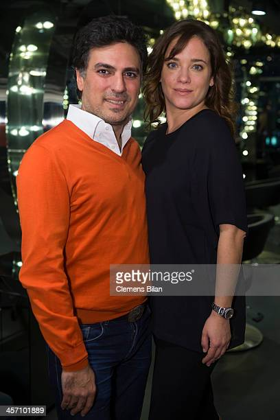 Shan Rahimkhan and Muriel Baumeister pose during a shoot for AMREF in Salon Shan Rahimkhan on December 16 2013 in Berlin Germany