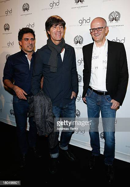 Shan Rahimkhan Joachim Loew and Rudi Meicht of ghd attend No1 TRUE BERLIN BY Shan Rahimkhan ghd on September 13 2013 in Berlin Germany