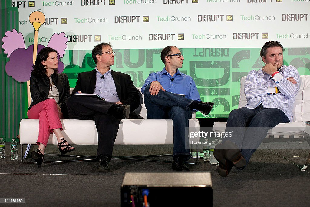 Shana Fisher, managing partner of High Line Venture Partners, from left, Roger Ehrenberg, managing partner of IA Ventures, Jeff Clavier, founder and managing partner of SoftTech VC, and Saul Hansel, big news editor for Huffington Post Media Group at AOL Inc., listen at the TechCrunch Disrupt NYC 2011 conference in New York, U.S., on Monday, May 23, 2011. The summit brings together leaders from various tech fields to discuss how the internet is disrupting industry after industry, from media and social commerce to payments and transportation. Photographer: Guy Calaf/Bloomberg via Getty Images