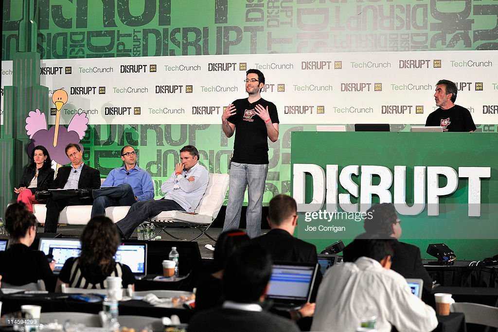 Shana Fisher, Saul Hansell, Roger Ehrenberg, Jeff Clavier, Andy Leff and Ron Leff during TechCrunch Disrupt New York May 2011 at Pier 94 on May 24, 2011 in New York City.