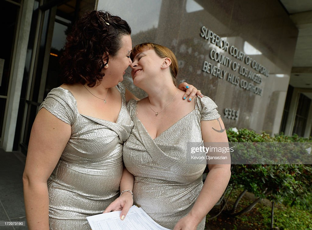 Shana Krochmal (L) and Jessica Maxwell kiss after picking up their marriage license from Beverly Hills Courthouse on July 1, 2013 in Beverly Hills, California. The U.S. Ninth Circuit Court of Appeals lifted California's ban on same-sex marriages just three days after the Supreme Court ruled that supporters of the ban, Proposition 8, could not defend it before the high court. California Gov. Jerry Brown ordered all counties in the state to begin issuing licenses immediately.