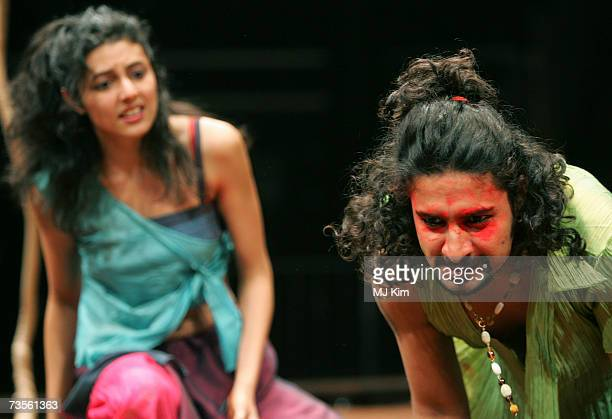 Shanaya Rafaat and Chandan Roy Sanyal perfom on the stage during the photocall of musical A Midsummer Night's Dream at the Roundhouse on March 13...