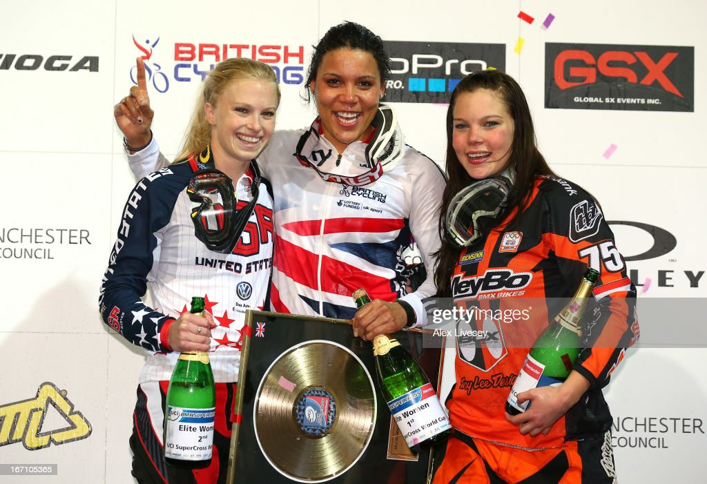<a gi-track='captionPersonalityLinkClicked' href=/galleries/search?phrase=Shanaze+Reade&family=editorial&specificpeople=3990766 ng-click='$event.stopPropagation()'>Shanaze Reade</a> of Great Britain celebrates with Brooke Crain of USA (l) and Merle van Benthem of Holland (r) after victory in the Women's Elite Final during the UCI BMX Supercross World Cup at the National Cycling Centre on April 20, 2013 in Manchester, England.