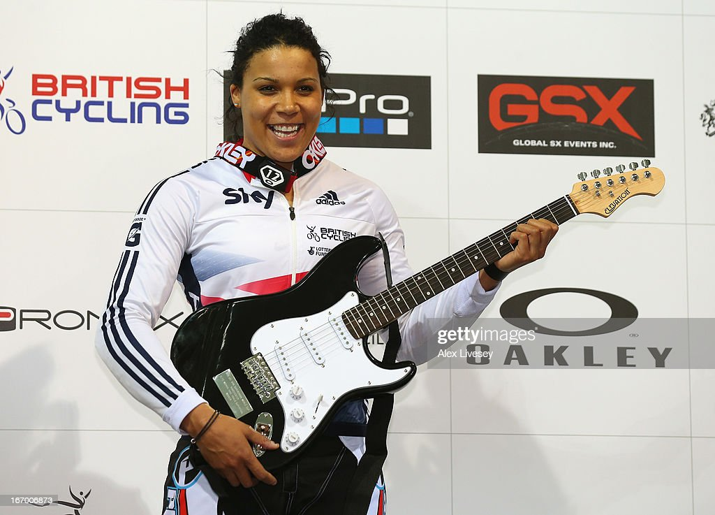 Shanaze Reade of Great Britain celebrates with her prize after winning the Women's Elite Time trials Superfinal during the UCI BMX Supercross World Cup at National Cycling Centre on April 19, 2013 in Manchester, England.