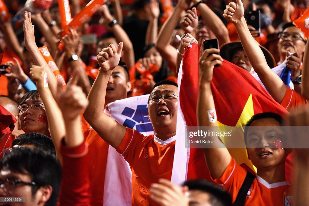 Shandong Luneng fans enjoy the atmosphere after the AFC Champions League playoff match between Adelaide United and Shandong Luneng at Coopers Stadium on February 9, 2016 in Adelaide, Australia.
