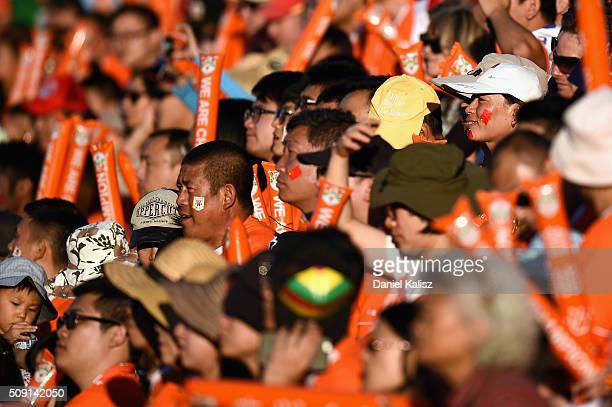 Shandong Luneng fans enjoy the atmosphere during the AFC Champions League playoff match between Adelaide United and Shandong Luneng at Coopers...
