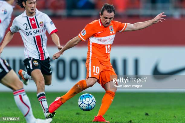 Shandong Luneng FC midfielder Walter Montillo in action during the AFC Champions League 2016 Quarter Final 2nd leg between Shandong Luneng FC vs FC...