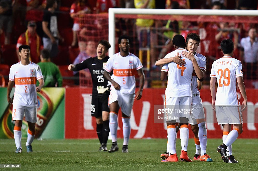 Shandong Luneng players react after the AFC Champions League playoff match between Adelaide United and Shandong Luneng at Coopers Stadium on February 9, 2016 in Adelaide, Australia.