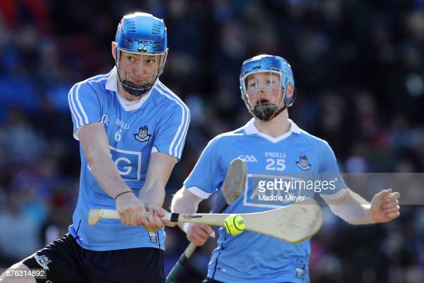Shane Barrett of Dublin takes a shot against Galway during their match in the 2017 AIG Fenway Hurling Classic and Irish Festival at Fenway Park on...
