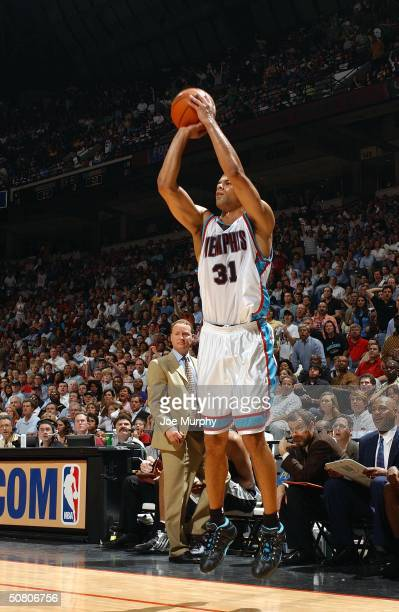 Shane Battier of the Memphis Grizzlies shoots against the San Antonio Spurs in Game three of the Western Conference Quarterfinals during the 2004 NBA...