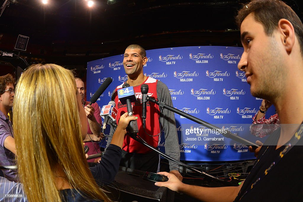 <a gi-track='captionPersonalityLinkClicked' href=/galleries/search?phrase=Shane+Battier&family=editorial&specificpeople=201814 ng-click='$event.stopPropagation()'>Shane Battier</a> of the Miami Heat addresses the media as part of the 2013 NBA Finals on June 19, 2013 at American Airlines Arena in Miami, Florida.