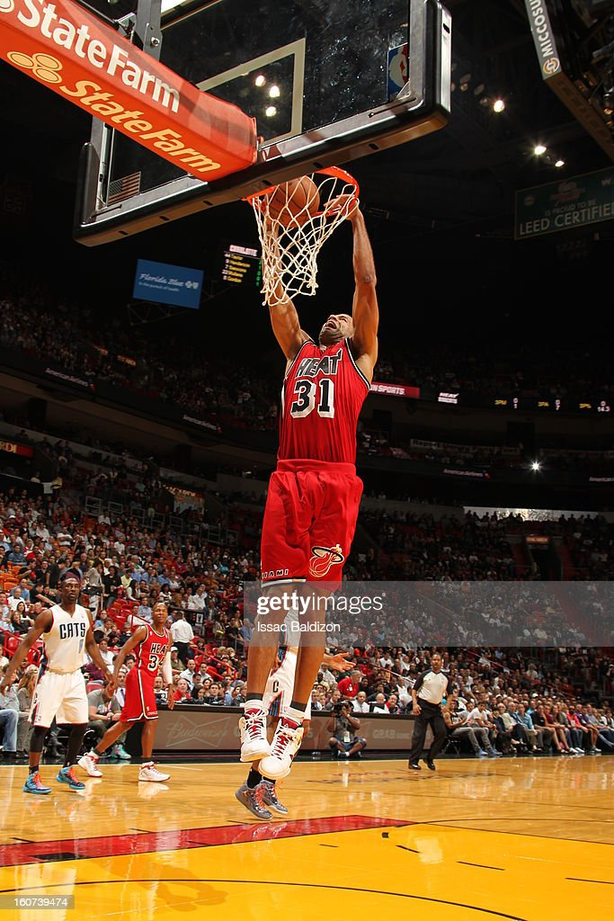 Shane Battier #31 of the Miami Heat goes up for the slam-dunk against the Charlotte Bobcats during a game on February 4, 2013 at American Airlines Arena in Miami, Florida.