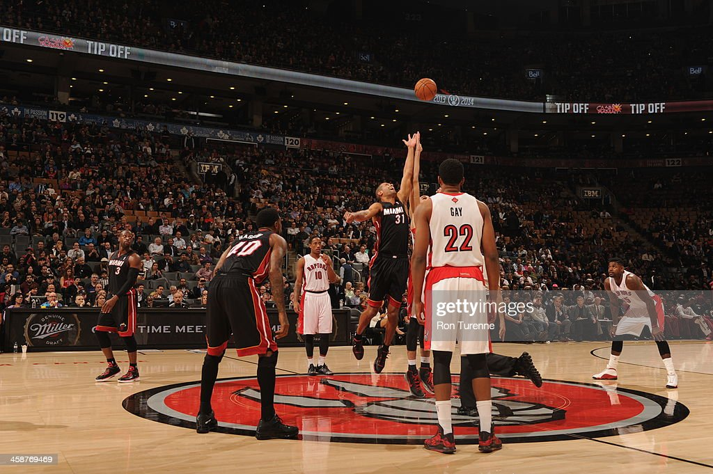 <a gi-track='captionPersonalityLinkClicked' href=/galleries/search?phrase=Shane+Battier&family=editorial&specificpeople=201814 ng-click='$event.stopPropagation()'>Shane Battier</a> #31 of the Miami Heat goes up for the tip-off against the Toronto Raptors during the game on November 5, 2013 at the Air Canada Centre in Toronto, Ontario, Canada.