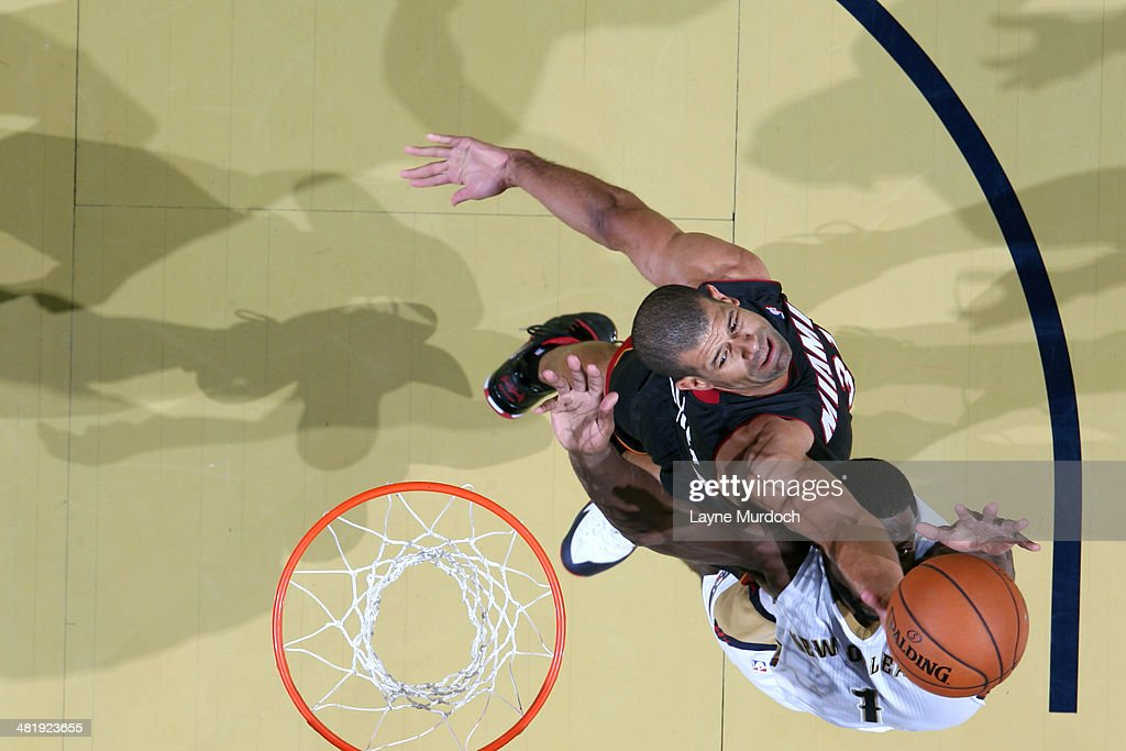 <a gi-track='captionPersonalityLinkClicked' href=/galleries/search?phrase=Shane+Battier&family=editorial&specificpeople=201814 ng-click='$event.stopPropagation()'>Shane Battier</a> #31 of the Miami Heat grabs a rebound against the New Orleans Pelicans on March 22, 2014 at the Smoothie King Center in New Orleans, Louisiana.