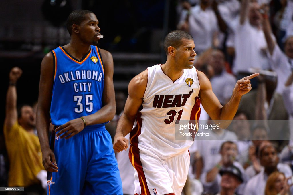 Shane Battier #31 of the Miami Heat reacts after he made a 3-point basket in the second half against Kevin Durant #35 of the Oklahoma City Thunder in Game Five of the 2012 NBA Finals on June 21, 2012 at American Airlines Arena in Miami, Florida.