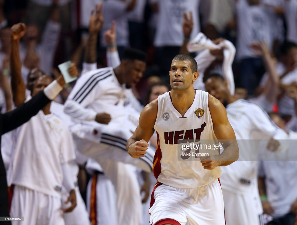 Shane Battier #31 of the Miami Heat reacts after making a three-pointer in the fourth quarter against the San Antonio Spurs during Game Seven of the 2013 NBA Finals at AmericanAirlines Arena on June 20, 2013 in Miami, Florida.