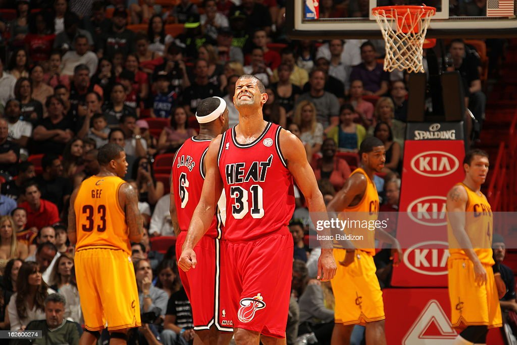 <a gi-track='captionPersonalityLinkClicked' href=/galleries/search?phrase=Shane+Battier&family=editorial&specificpeople=201814 ng-click='$event.stopPropagation()'>Shane Battier</a> #31 of the Miami Heat reacts during a game between the Cleveland Cavaliers and the Miami Heat on February 24, 2013 at American Airlines Arena in Miami, Florida.
