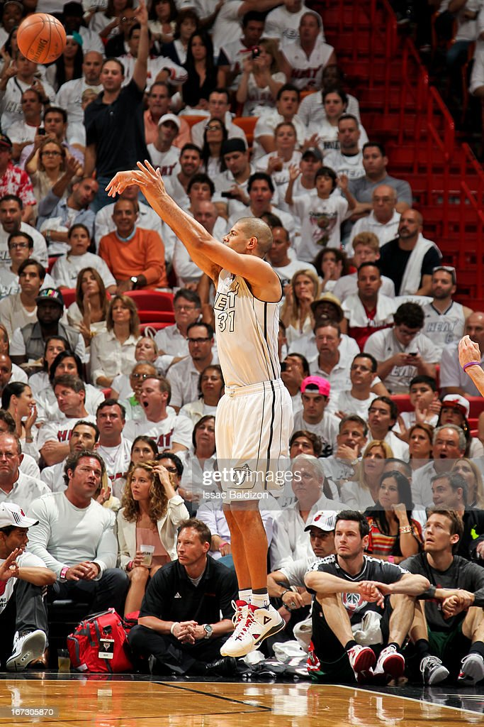 Shane Battier #31 of the Miami Heat shoots a three-pointer against the Milwaukee Bucks in Game Two of the Eastern Conference Quarterfinals during the 2013 NBA Playoffs on April 23, 2013 at American Airlines Arena in Miami, Florida.