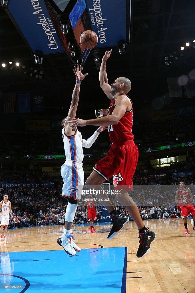 <a gi-track='captionPersonalityLinkClicked' href=/galleries/search?phrase=Shane+Battier&family=editorial&specificpeople=201814 ng-click='$event.stopPropagation()'>Shane Battier</a> #31 of the Miami Heat shoots over the Oklahoma City Thunder during an NBA game on February 14, 2013 at the Chesapeake Energy Arena in Oklahoma City, Oklahoma.
