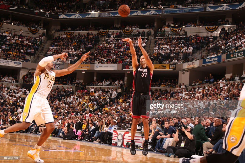 <a gi-track='captionPersonalityLinkClicked' href=/galleries/search?phrase=Shane+Battier&family=editorial&specificpeople=201814 ng-click='$event.stopPropagation()'>Shane Battier</a> #31 of the Miami Heat shoots the ball against David West #21 of the Indiana Pacers in Game Three of the Eastern Conference Finals during the 2013 NBA Playoffs on May 26, 2013 at Bankers Life Fieldhouse in Indianapolis, Indiana.