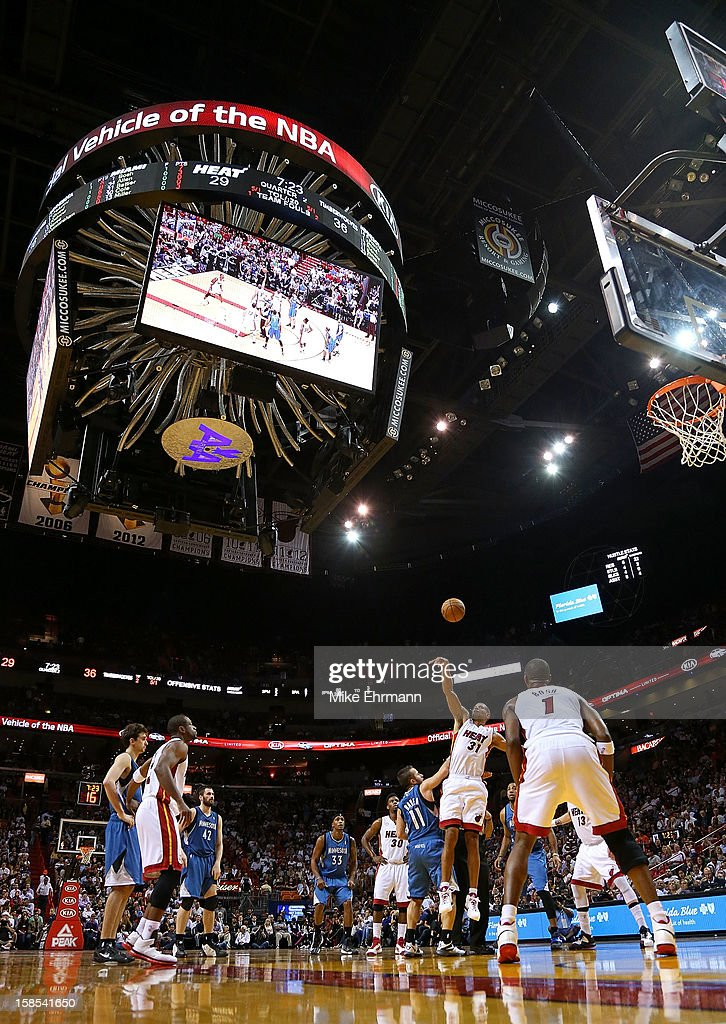 <a gi-track='captionPersonalityLinkClicked' href=/galleries/search?phrase=Shane+Battier&family=editorial&specificpeople=201814 ng-click='$event.stopPropagation()'>Shane Battier</a> #31 of the Miami Heat wins a jump ball over Jose Juan Barea #11 of the Minnesota Timberwolves during a game at American Airlines Arena on December 18, 2012 in Miami, Florida.