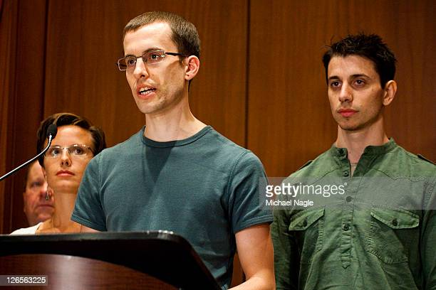 Shane Bauer and Josh Fattal two American hikers released after spending more than two years imprisoned in Iran were joined by Sarah Shourd in front...