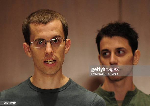 Shane Bauer and Josh Fattal two US hikers held by Iran for more than two years on spying charges give a press conference after arriving back in the...