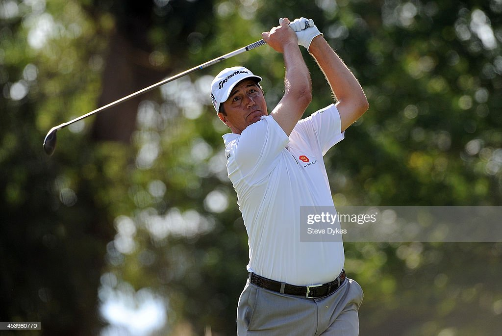 Shane Bertsch hits his drive on the eighth hole during the second round of the WinCo Foods Portland Open at the Pumpkin Ridge Golf Club on August 22, 2014 in North Plains, Oregon.