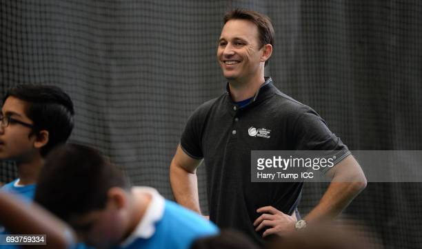 Shane Bond looks on during the ICC Champions Trophy Ambassador Shane Bond event at SWALEC Stadium on June 8 2017 in Cardiff Wales