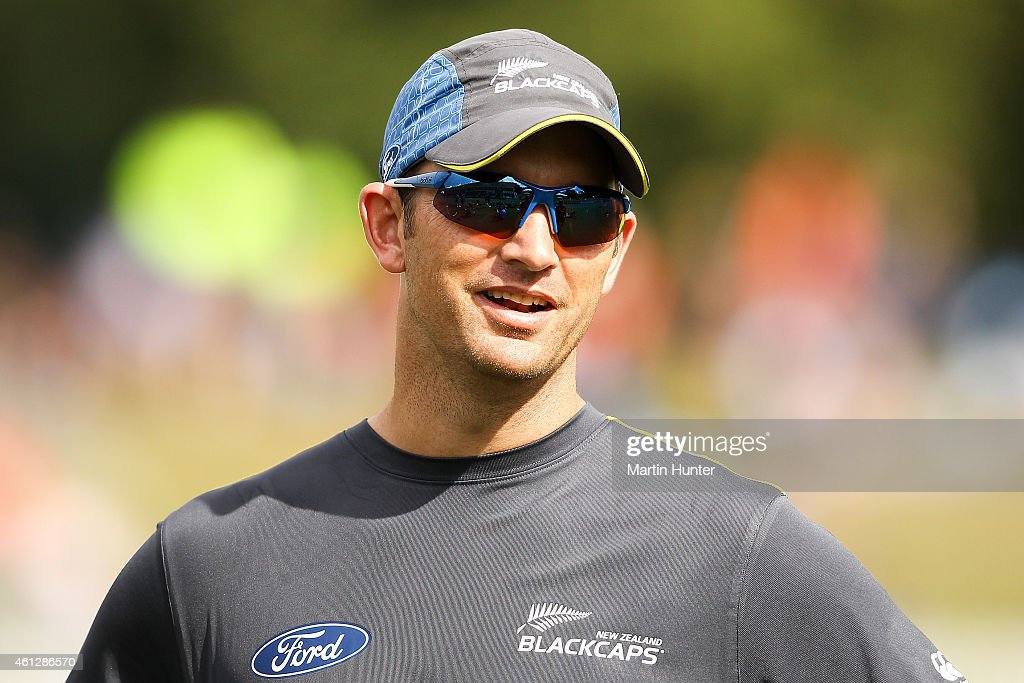 Shane Bond NZ bowling coach looks on prior to the start of the One Day International match between New Zealand and Sri Lanka at Hagley Oval on...