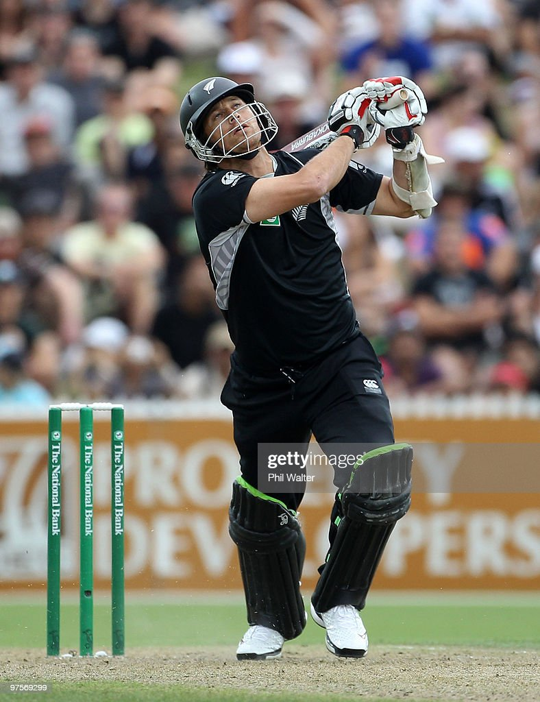 Shane Bond of New Zealand bats during the One Day International match between New Zealand and Australia at Seddon Park on March 9 2010 in Hamilton...