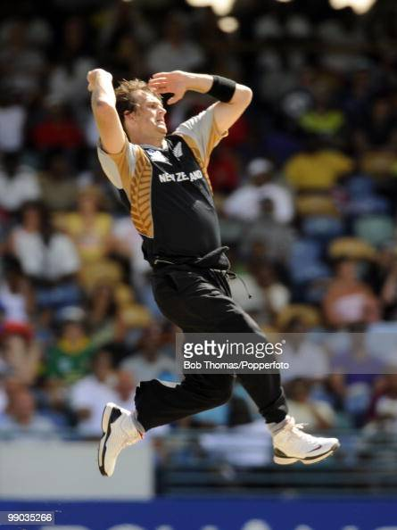 Shane Bond of New Zealand bowls during The ICC World Twenty20 Super Eight match between South Africa and New Zealand played at The Kensington Oval on...
