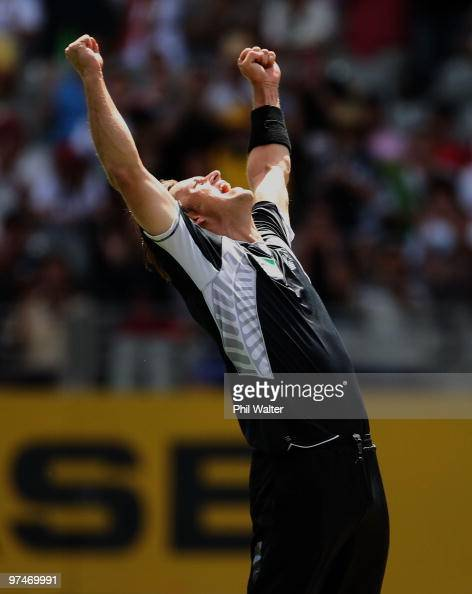 Shane Bond of New Zealand celebrates his wicket of Michael Clarke of Australia during the Second One Day International match between New Zealand and...