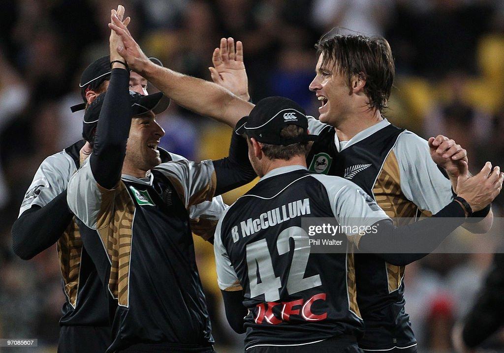 Shane Bond of New Zealand celebrates his wicket of Mitchell Johnson of Australia during the Twenty20 international match between New Zealand and...