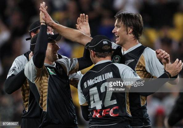 Shane Bond of New Zealand celebrates his wicket of Mitchell Johnson of Australia during the Twenty20 international match between New Zealand and...