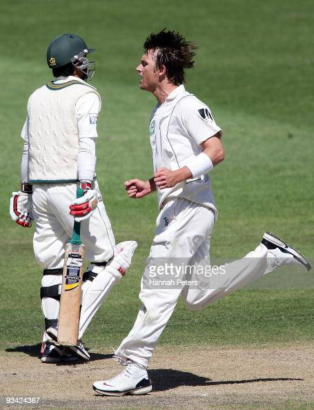 Shane Bond of New Zealand celebrates the wicket Fawad Alam of Pakistan during day three of the First Test match between New Zealand and Pakistan at...