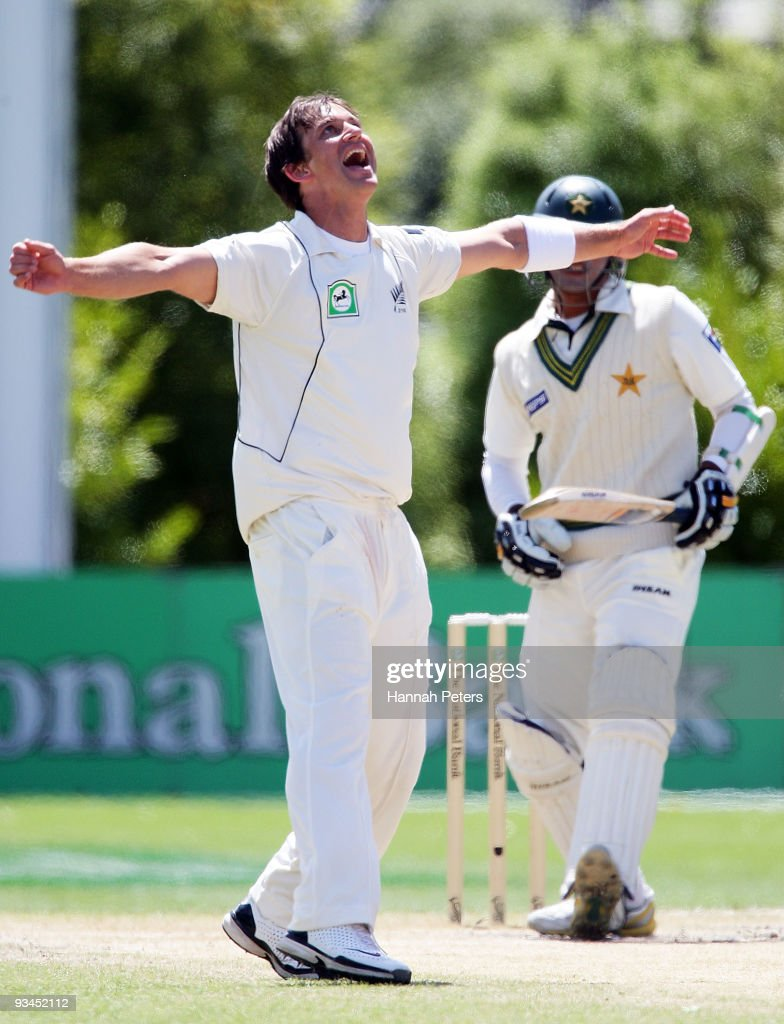 Shane Bond of New Zealand celebrates the wicket of Khurram Manzoor of Pakistan during day five of the First Test match between New Zealand and...
