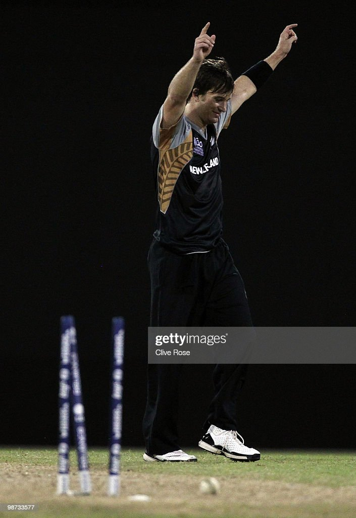 Shane Bond of New Zealand celebrates the winning wicket during the ICC T20 World Cup warm up match between West Indies and New Zealand at the Guyana...