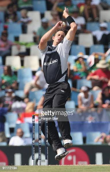 Shane Bond of New Zealand in action during the ICC Champions Trophy Group B match between South Africa and New Zealand on September 24 2009 in...