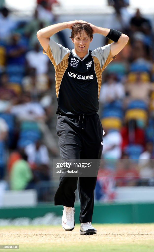 Shane Bond of New Zealand looks despondent as runs are scored of his bowling during The ICC World Twenty20 Super Eight match between South Africa and...
