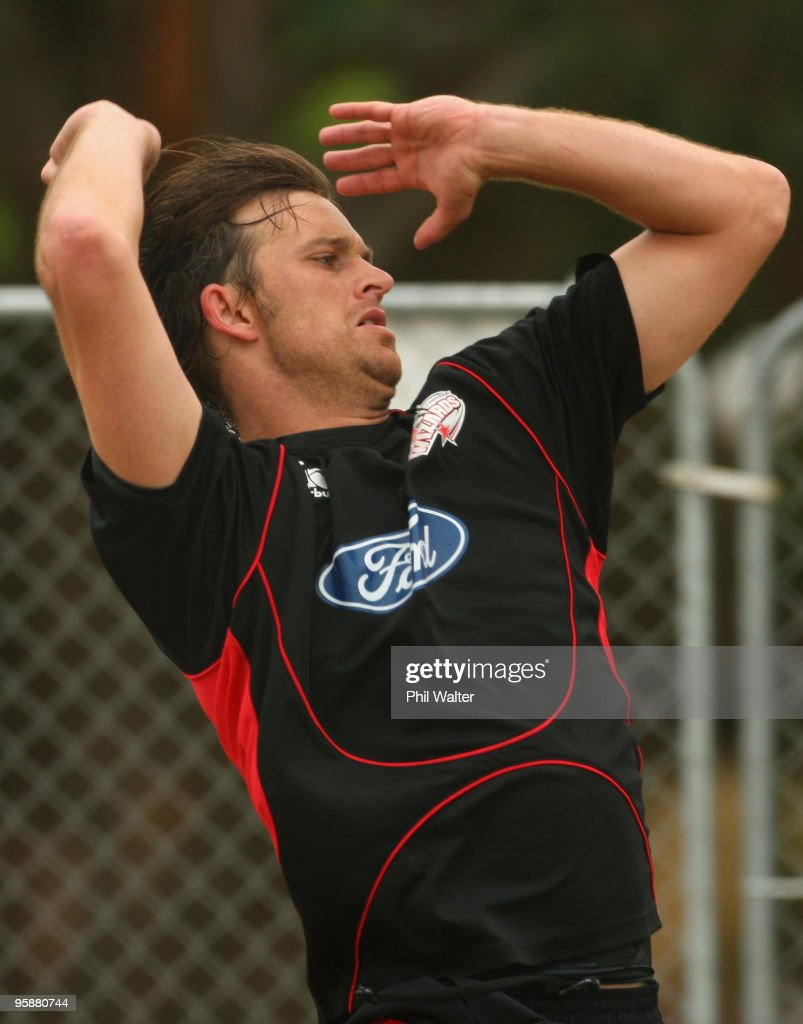 Shane Bond of the Canterbury Wizards bowls during a training session at QEII Park on January 20 2010 in Christchurch New Zealand Shane Bond was...