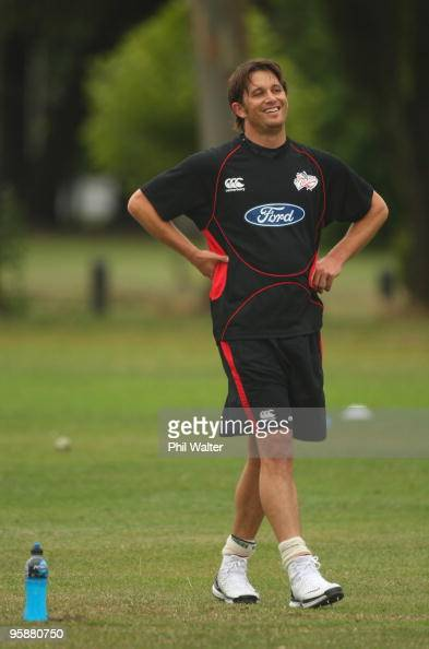 Shane Bond of the Canterbury Wizards looks on during a training session at QEII Park on January 20 2010 in Christchurch New Zealand Shane Bond was...