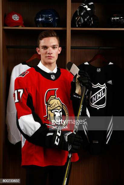 Shane Bowers 28th overall pick of the Ottawa Senators poses for a portrait during Round One of the 2017 NHL Draft at United Center on June 23 2017 in...