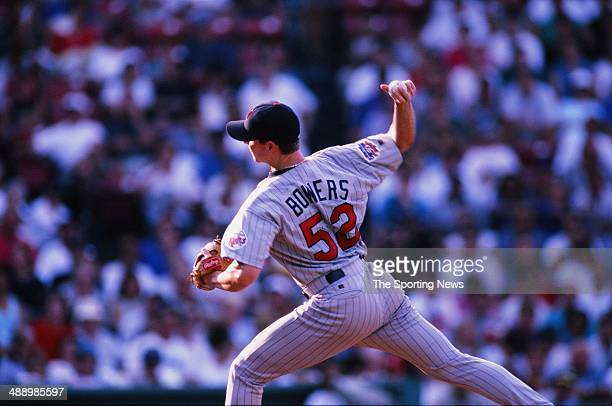 Shane Bowers of the Minnesota Twins pitches against the Boston Red Sox at Fenway Park August 16 1997 in Boston Massachusetts