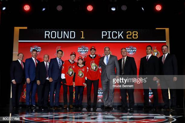 Shane Bowers poses for photos after being selected 28th overall by the Ottawa Senators during the 2017 NHL Draft at the United Center on June 23 2017...