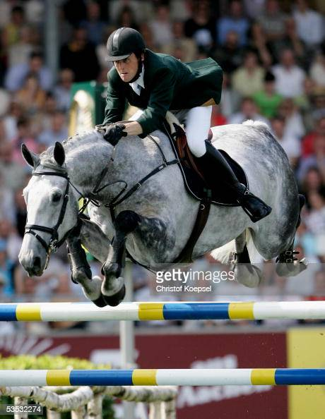 Shane Breen of Ireland jumps on World Cruise in the discipline of show jump of the S16 Great Pirce of Aachen during the CHIO Aachen 2005 Grand Prix...