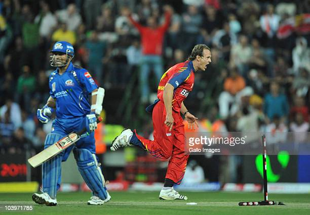 Shane Burger of the Highveld Lions celebrates after bowling Sachin Tendulkar of the Mumbai Indians for 69 runs during the Airtel Champions League...