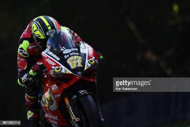 Shane Byrne of Be Wiser Ducati Racing Team rides during race two of the British Superbike Championship finale at Brands Hatch on October 15 2017 in...